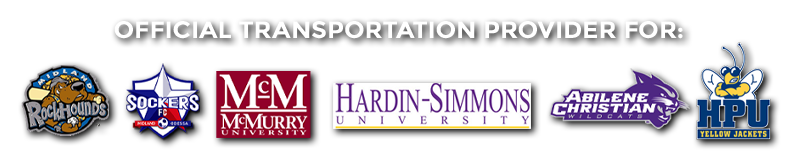 Trasnportation provider for ACU, Hardin Simmons, McMurry, Midland Rockhounds, etc.